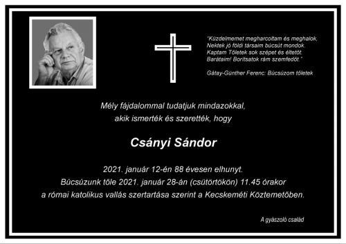 Elhunyt Csányi Sándor